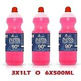 Alcool etilico denaturato 90° disinfettante - 3 flaconi da 1 litro