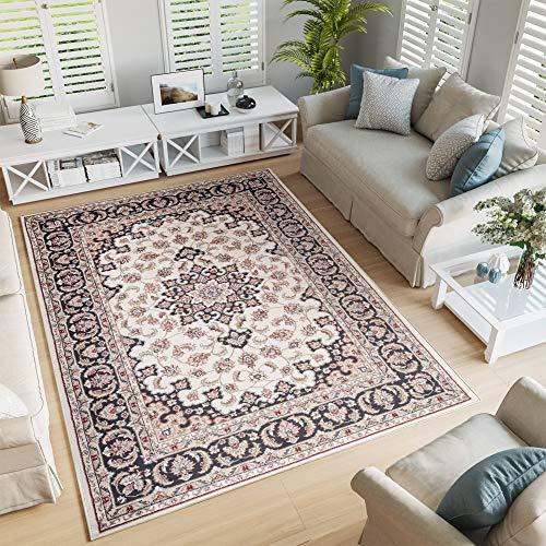 Tapiso tappeto salotto classico - colore beige crema disegno persiano di inspirazione orientale - morbido - facile da pulire - prezzo economico 140 x 200 cm
