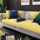 Engrosamiento Funda de sofá de felpa Para 1 2 3 4 plazas,Cojín para sofá de felpa corta espesar toalla de cubierta de tela simple moderna sala de antideslizante cojín sofá-amari...