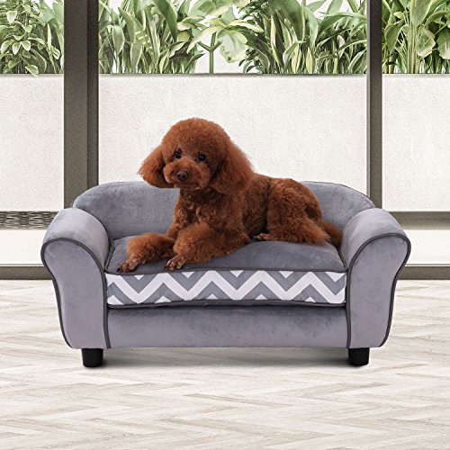 pawhut-pet-sofa-couch-dog-cat-wooden-sponge-sofa-bed-lounge-comfortable-luxury-w-cushion-grey