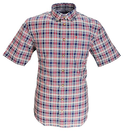 Farah Polycotton Lässig Elegant Hemd(Pimlott),Größe 2XL bis 5XL Marineblau/Weinrot