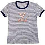 Blue 84 NCAA Virginia Cavaliers Women's Tri-Blend Retro Stripe Ringer Shirt, X-Large, Navy