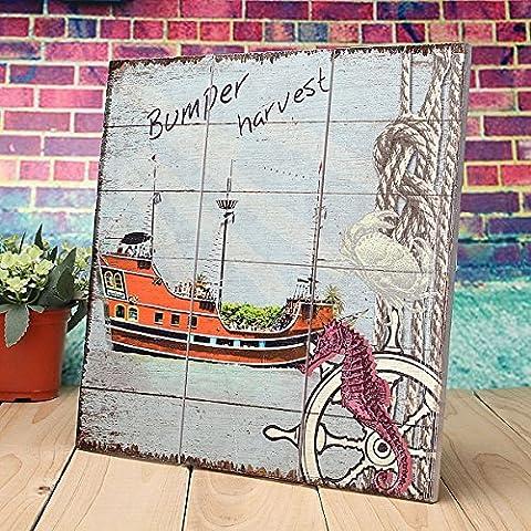 Bluelover Segno di legno rustico placca parete arte foto Steamship Nautical Design decorazione -C