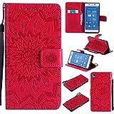 JIALUN-Fall für Sony Für Sony Z4 Fall, mit Lanyard, Card Slot, Magnet Wölbung und Built-in Stent Printing Flat Open The Phone Shell Einfach und Stilvoll (Color : Red)
