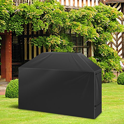 LEMESO Grill Abdeckhaube Grillabdeckung Wasserdicht BBQ Cover Schutzhülle Haube Grill Abdeckplane für Weber, Brinkmann, Char Broil, Holland and Jenn Air Schwarz (Outdoor-grill-hauben)