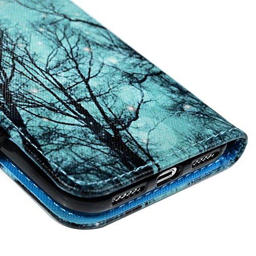 Lanveni Handyhülle für iPhone X Flip Case Cover PU Lederhülle Schutzhülle Magnetverschluss Ledertasche mit Stander Function Brieftasche Card Slot Handy Tasche mit Bunte Gemalt Design (1 x PU Lederhüll Farbe 7