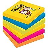 Post-it Super Sticky - Pack de 6 blocs notas de 90 hojas, Rio de Janeiro (Amarillo Neón/Azul Mediterráneo/Verde Neón/Rosa Fuc