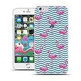 HULI Design Case Hülle für Apple iPhone 6 Plus / 6s Plus Handy im Flamingo Design - Handyhülle aus TPU Silikon - Schutzhülle klar mit Animal Tier Muster - Transparent & Slim für Dein Smartphone
