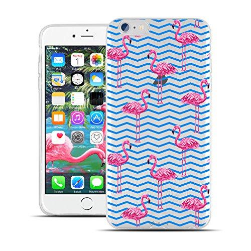 HULI Design Case Hülle für Apple iPhone 6 / 6s Handy im Flamingo Design - Handyhülle aus TPU Silikon - Schutzhülle klar mit Animal Tier Muster - Transparent und Slim für Dein Smartphone