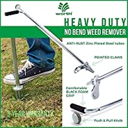 "Worth Garden Stand-Up Weeder and Root Removal Tool - Ergonomic Weed Puller with A 33"" Tall Handle and Foo"