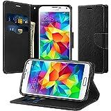 Funda Galaxy S5 Mini, Supad Cuero Sintético Flip Case Funda para Samsung Galaxy S5 Mini (Negro)