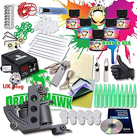 DragonHawk Starter Tattoo Kit Machines USA Brand Inks Colors Top