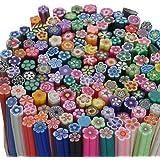 fujiyuan 20pcs Mixta Fimo arcilla polimérica caña Rod decoraciones de uñas Stick Adhesivo DIY Nail Art Mixed Flower mixed color