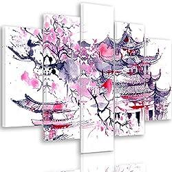 Feeby Frames, Cuadro en lienzo - 5 partes - Cuadro impresión, Cuadro decoración, Canvas Tipo A, 100x150 cm, CEREZO DEL JAPÓN, ABSTRACCIÓN, MORADO