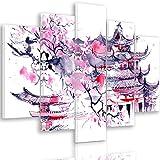 Feeby. Leinwandbild - 5 Teile - Bilder, Wand Bild, Wandbilder, Kunstdruck XXL, 5-Teilig, Typ A, 200x100 cm, JAPANISCHER KIRSCHBAUM, ABSTRAKT, LILA