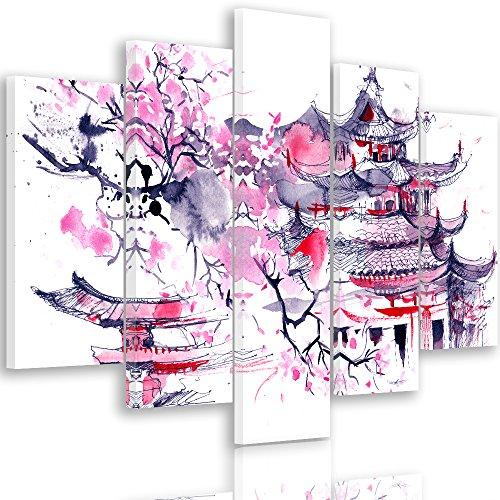 Feeby Frames, Cuadro en Lienzo - 5 Partes - Cuadro impresión, Cuadro decoración, Canvas Tipo A, 70x100 cm, Cerezo del JAPÓN, ABSTRACCIÓN, Morado