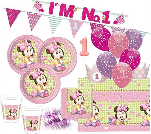 (67 Teile Disney Baby Minnie zum Ersten Geburtstag Party Deko Set 16 Personen 1. Geburtstag)