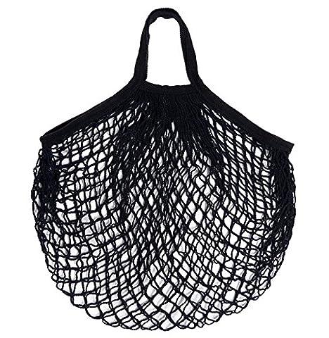 Wiederverwendbare Einkaufstasche, ubabamana Freundlicher wiederverwendbar Mesh Einkaufstasche wiederverwendbar Fruit Aufbewahrungs Handtasche Tragetaschen New Mesh Net Schildkröte Tasche Saite Einkaufstasche, schwarz, 38 cm