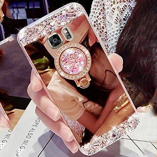 Preisvergleich Produktbild Girlyard Silikon Glitzer Hülle für Galaxy S6 Edge Spiegel Rose Gold, Ultra Slim Weiche TPU Bumper Luxus Bling Diamant Schutzhülle Crystal Clear Backcover mit 360 Grad Strass Ring Ständer pour Samsung Galaxy S6 Edge