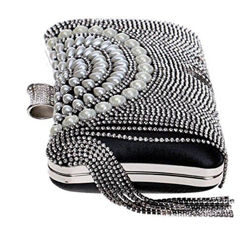Europa Stati Uniti Signore Nappe Frizione Moda Mini Borsa Da Sera Sposa Moda Banchetto Diamante Borsa A Mano Black