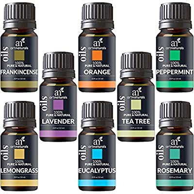 ArtNaturals Therapeutic-Grade Aromatherapy Essential Oil Set – Top 8 Pure of the Highest Quality Oils – Peppermint, Tea Tree, Rosemary, Sweet Orange, Lemongrass, Lavender, Eucalyptus, Frankincense – Therapeutic-Grade