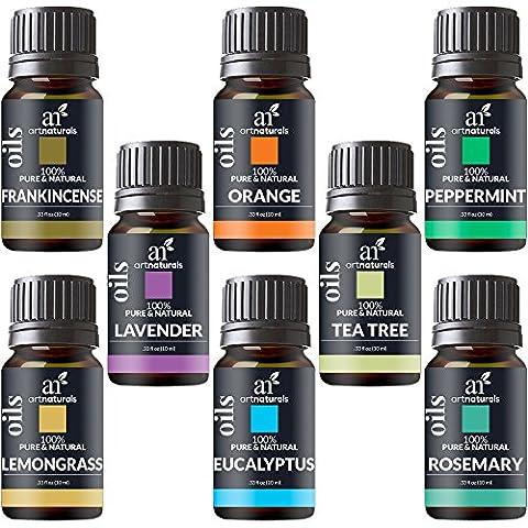 ArtNaturals Set de 8 Aromathérapie Huiles Essentielles - (8 x 10ml)