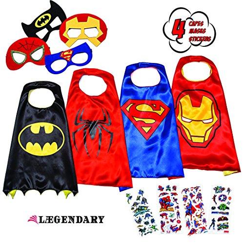 LAEGENDARY Costumi da Supereroi per Bambini - 4 Mantelli e Maschere - Logo di Spiderman Visibile al Buio - Giocattoli per Bambini e Bambine