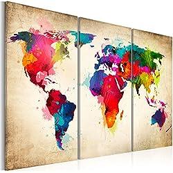 murando Impression sur toile 120x80 cm - Grand format - XXL - 3 couleurs au choix– 3 pieces - Image sur toile – Images – Photo – Tableau - motif moderne - Décoration - tendu sur chassis - carte du monde k-A-0006-b-f 120x80 cm