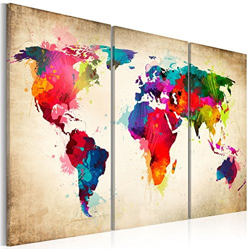World map wall art amazon murando image 120x80 cm image printed on non woven canvas wall art print picture photo 3 pieces world map k a 0006 b f gumiabroncs Gallery