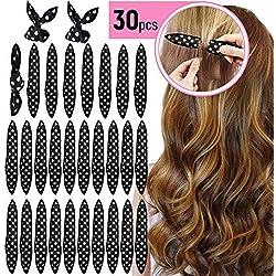 Bigoudis de Cheveux, 30 Pcs Flexible Léger Mousse Souple Cheveux Rouleaux de Cheveux Sans Chaleur DIY Coiffure Outil