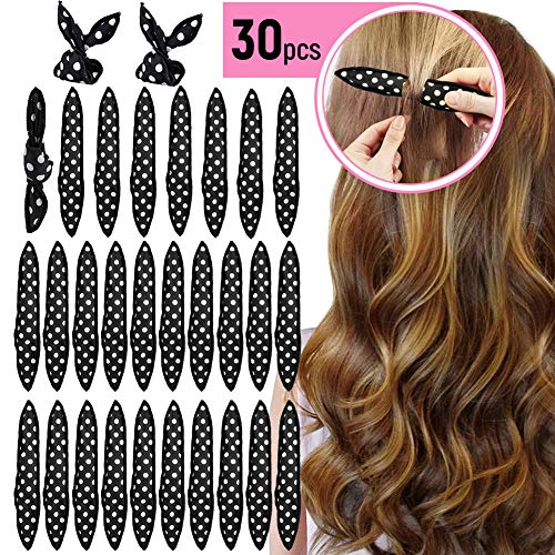 Lockenwickler Curler, 30 Stück Schaumstoff Haar Rollen Locken, Magic Lockenwickler Über Nacht Haar-Styling-Tools für Langes Haar, Mittellanges Haar - Haar-lockenwickler-rollen
