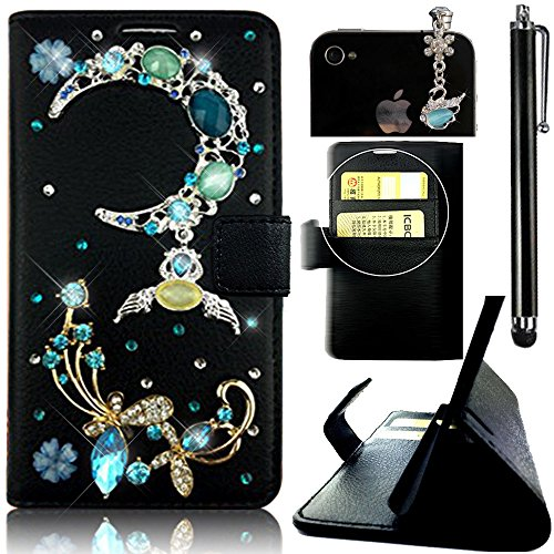 Sunroyal 3in1 Zubehör Set: 1 x 3D Luxus PU Rhinestone Ledertasche mit Strass Steinen Schutzhülle für Samsung Galaxy S5 S5 Neo i9600 GT-I9600 Samsung Galaxy S5 (SM-G900F) - S5 Neo (SM-G903F) Tasche Etui Cover Muster Flip Case Schale im Bookstyle+ 1 x Stylus hellblau + 1 x 3.5mm Handystecker Strass Staubschutz, Blau MoonMond, Butterfly Schmetterling und Blume Muster Painted
