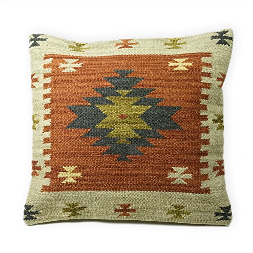 Fair Trade Ajanta Kelim Kissen handgefertigt auf gewebt mit 80/20Wolle/Baumwolle und natürliche Farbstoffe, Textil, braun, 45 x 45