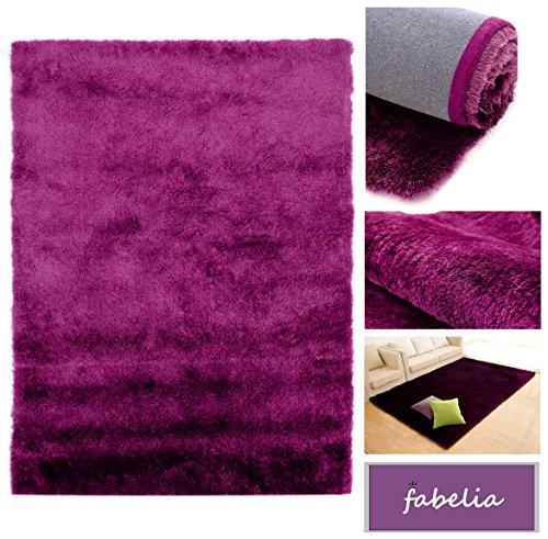 Hochflor Teppich Shaggy 'Gentle Luxus' - Satin Luxury - Weich und Handgetuftet / In vielen bunten Farben - Läufer (80 cm x 150 cm, Lila / Flieder)
