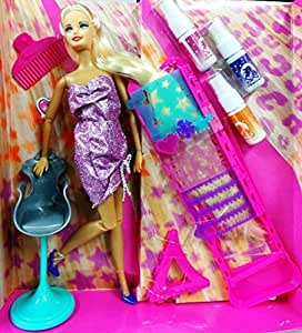 Fashion Doll Bettina Hair Color & Design Salon Set With Accessories Toy Set For Small Girls (Assorted)