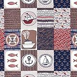 Fabulous Fabrics Baumwollstoff Maritim Patch – braun —