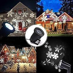 Proiettore Fiocchi di Neve, Faretti LED illuminazione Luci Natale Esterno, YUMOMO Proiettori Luce Natalizie, Decorazione della parete