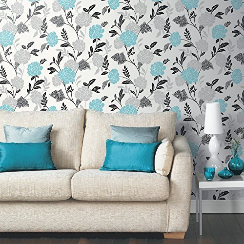 Arthouse Carla Floral Rose Pattern Wallpaper Glitter Motif Vinyl Stripe  (Teal 889402) Part 50