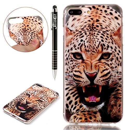 Custodia iPhone 7 Plus,iPhone 7 Plus Cover,SainCat Custodia in Morbida TPU Protettiva Cover per iPhone 7 Plus,Creative Design Transparent Silicone Case Ultra Slim Sottile Morbida Transparent TPU Gel C leopardo