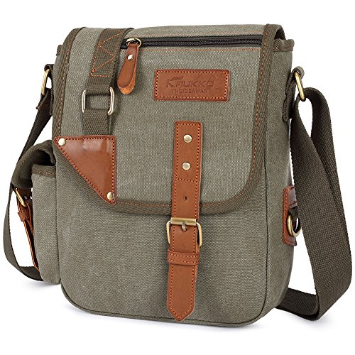 KAUKKO Piccola pelletteria tela da uomo Croce Corpo Messenger Bag Army Green