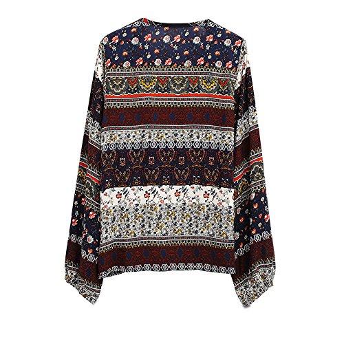 Butterme Damen Frauen Malaysia Bohemian Langarm Deep V Neck Lässige Tunika Tops Boho Floral Print Lose Hemd Blusen Kaffee