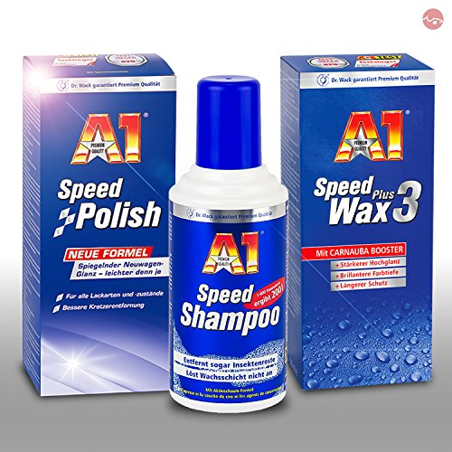 Preisvergleich Produktbild Dr. Wack A1 Speed Shampoo 2760 + A1 Speed Polish 2700 + A1 Speed Wax Plus 3 2730