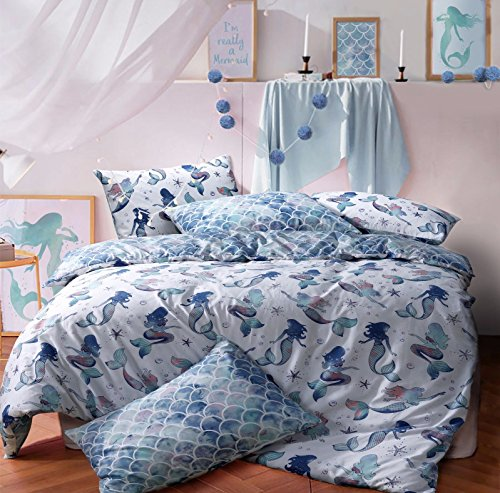 Sleepdown Mermaid Queen Reversible Qulit Duvet Cover Set Easy Care Anti-Allergic Soft & Smooth with Pillow Cases (Double) Best Price and Cheapest