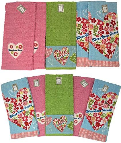 Segne Ihre Herz 10Stück Saugstarke Baumwolle Küche Geschirrtuch Set, 6718, 68,6x 40,6cm