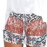 Dasongff Damen Hot Pants Sommer Shorts Hohe Taille Kurze Hosen Böhmen Drucken Bikinihose Strandshorts Sommerhosen für Damen Mädchen (L, Orange)