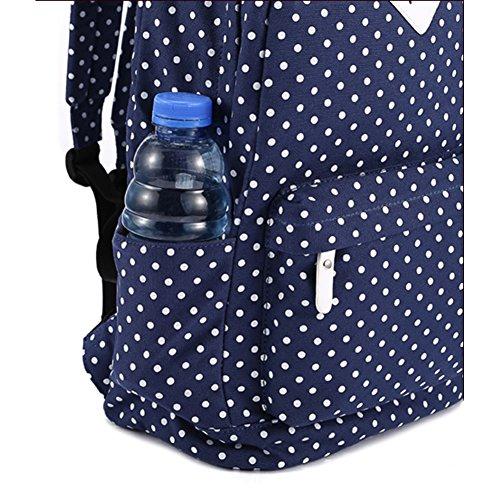 """S-ZONE leggero casuale Daypack Tela Pois Backpack 14 """"-15"""" PC sacchetto di scuola del computer portatile per ragazze adolescenti DARK BLUE"""