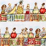 Hellblauer Strand Obst Frauen Streifen Stoff Elizabeth's