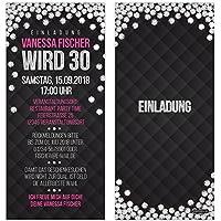 Einladungskarten Glamour Silber Diamant Pink Schwarz VIP Einladung Zum  Geburtstag, Personalisierte Geburtstagseinladung