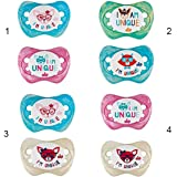 NIP Unique Soother, Size 2 (5-18 M) Pack of 2, Dogs Blue/Beige_313132 - Multi Color