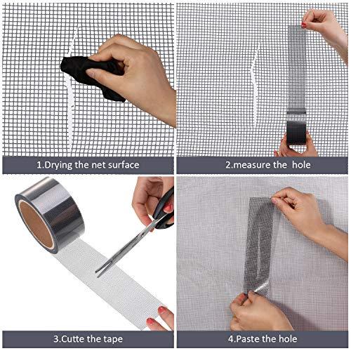 evita insectos mosquitos 10 x 10 cm aquete de 15 parches de reparaci/ón de pantalla de ventana y puerta,red autoadhesiva,kit de reparaci/ón de pantalla de malla ideal para cubrir agujeros y roturas